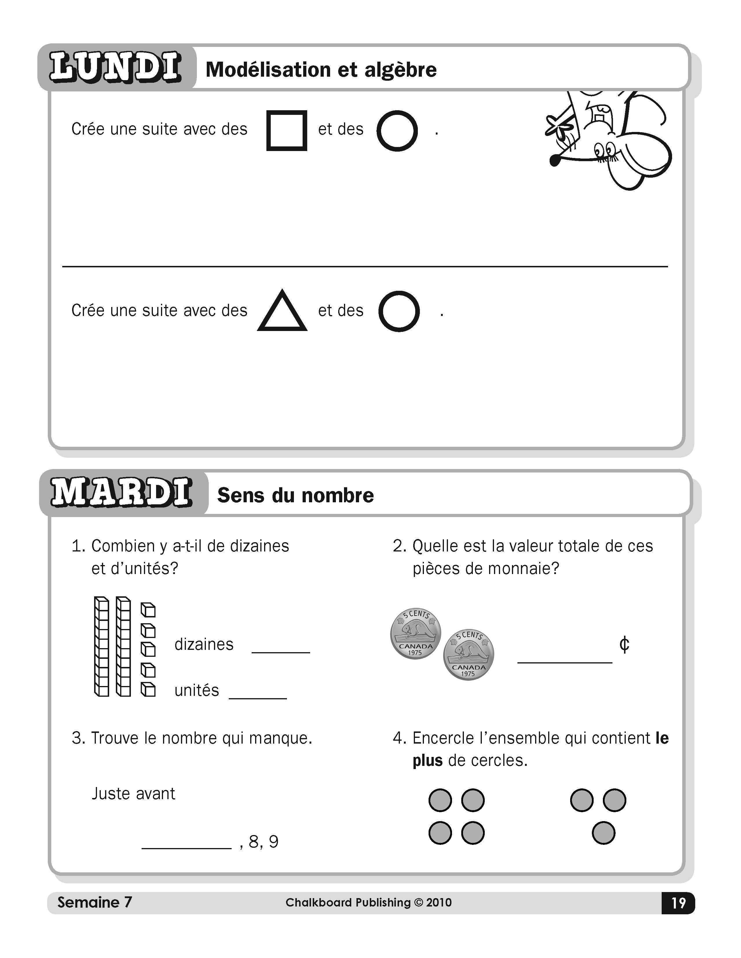 Canadian French Daily Math Grade 1