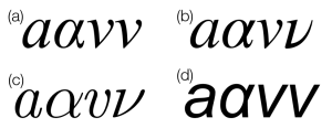 a-alpha-v-nu in four fonts