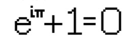 A bitmap image of Euler's identity, e^(i pi) + 1 = 0
