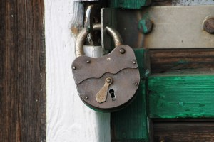 Hinged Old History Padlock Building Rusty Door