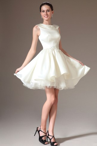 White Short Jewel Ball Gown Satin Sleeveless Dress