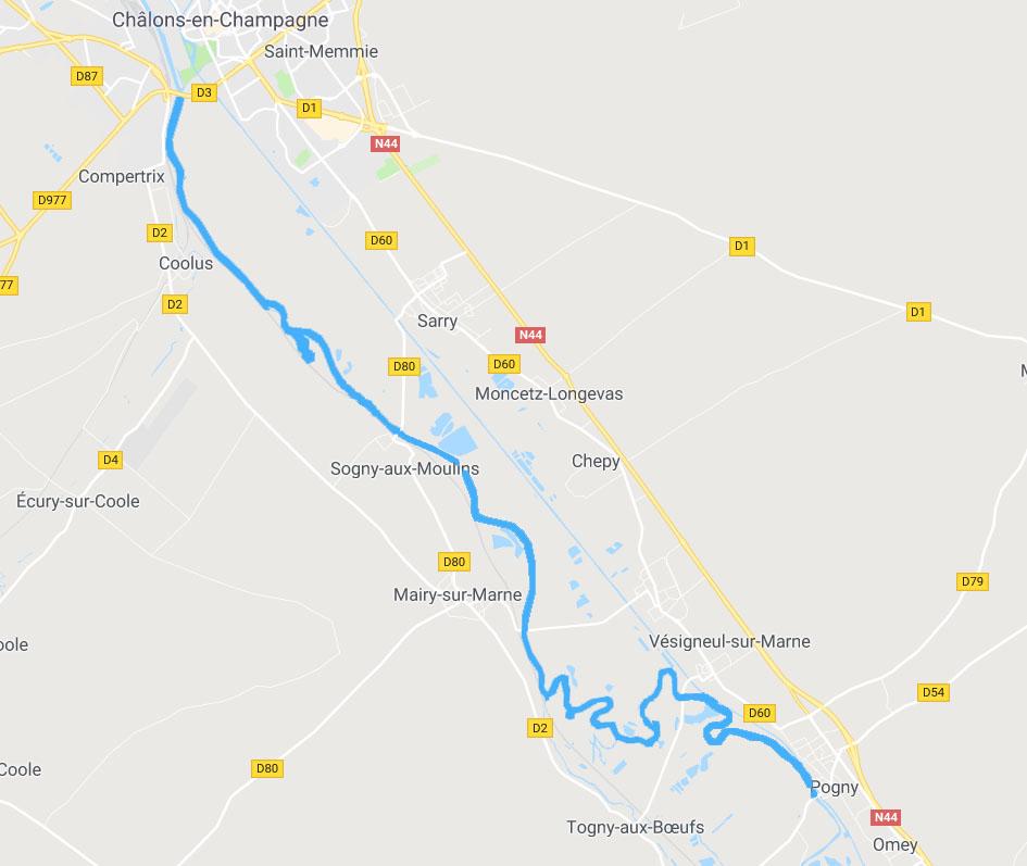 Carte de la rivière Marne
