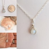 Tiny Moonstone pendant with Sterling silver