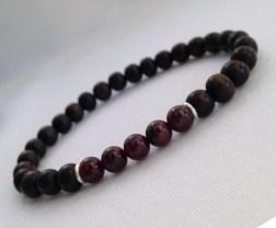 Tiger ebony and Garnet bracelet