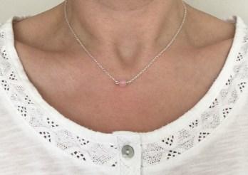 Minimal, single Rose Quartz bead necklace.