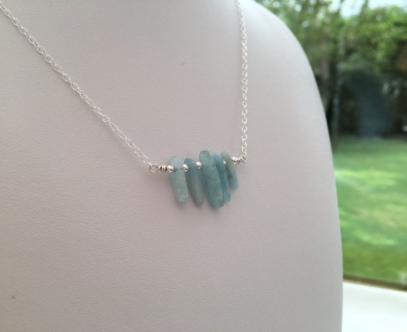 Aquamarine shard necklace with Sterling silver