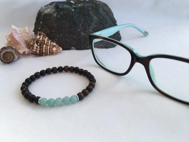 Tiger ebony and Amazonite bracelet