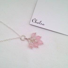 Rose Quartz cluster necklace.