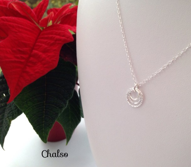 Made entirely with Stirling silver, this is a dainty, minimal necklace. It would make a great gift for a mum of three, or request a version with two rings for your bridesmaids.