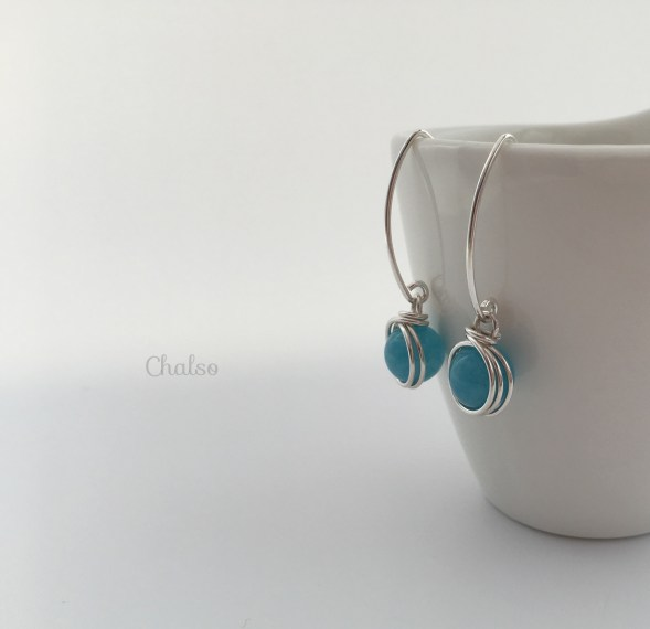 Aquamarine and Sterling silver earrings for March birthdays.