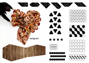 Axe Tangram - Planche tendance pour Art&Fact, centre culturel strasbourgeois