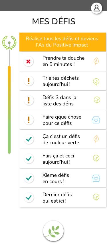 Listes de défis dans l'app l'Astuce Verte