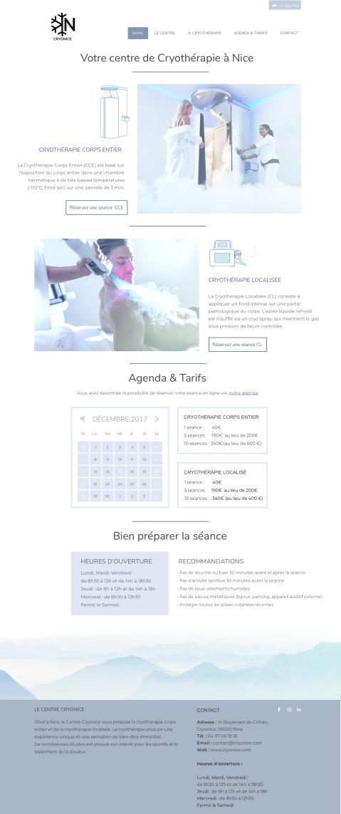 Homepage - Design d'un site ur Cryonice, entreprise spécialisé dans la cryothérapie