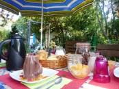 petit déjeuner dans le jardin
