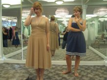 Bridesmaid dress shopping, summer 2008. Gladiator sandals also from Old Navy. Broke them later that summer, to my dismay, while wandering home after a happy hour.