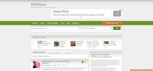 Capture d'écran du site d'actualités en ligne RDINews