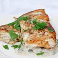 Seared Barramundi with Mustard Sauce