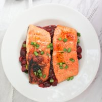 Grilled King Salmon with Plum Sauce