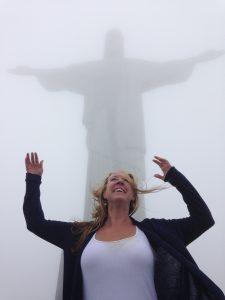 Eileen Callahan, Travel expert in Rio de Janeiro visiting Crist the Redeemer