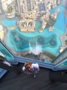 Burj Khalifa with Eileen Callahan, travel blogger of Champagne-travels