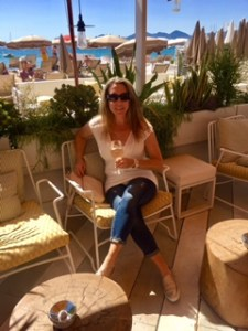 Luxury travel expert Eileen Callahan drinking Rose in Cannes France