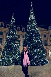 Eileen Callahan Luxury Travel Expert of Champagne Travels in Paris at Place Vendome during Christmas Time in France