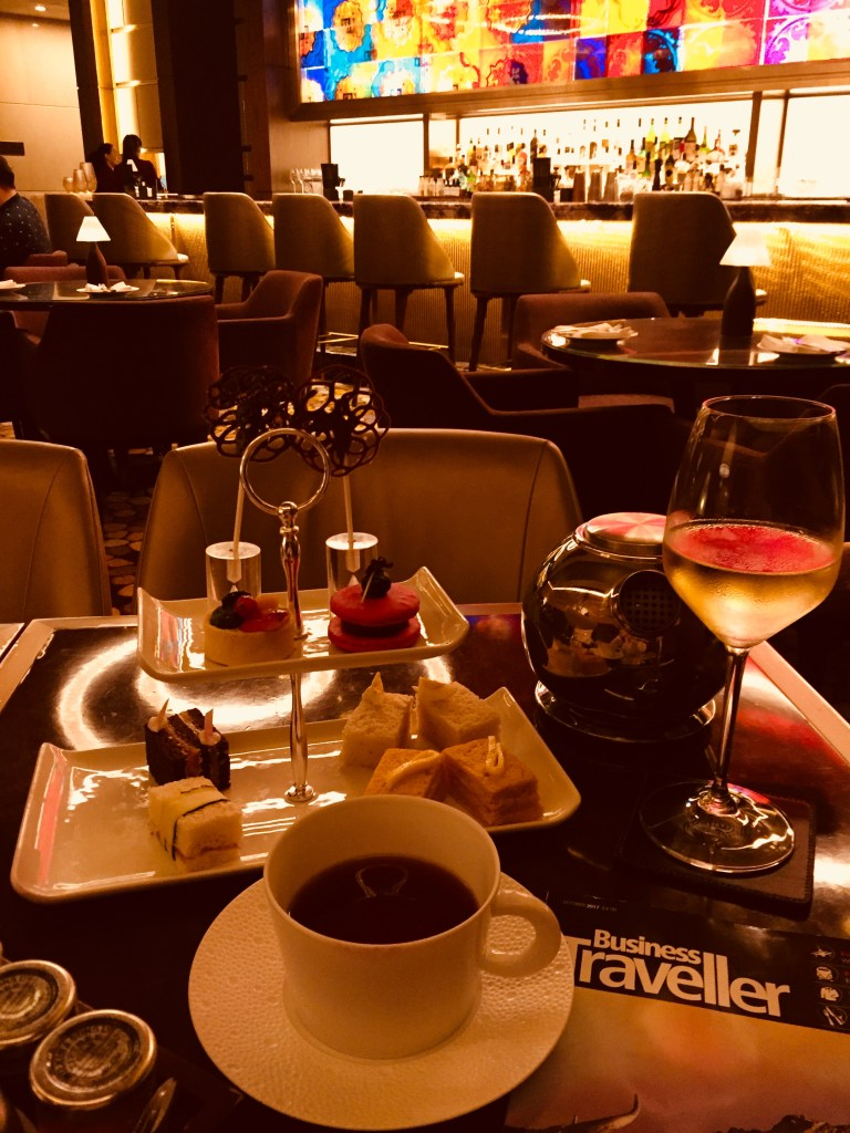 Luxury Travel Expert Eileen Callahan of Champagne Travels Enjoying High Tea at the St. Regis Macao China