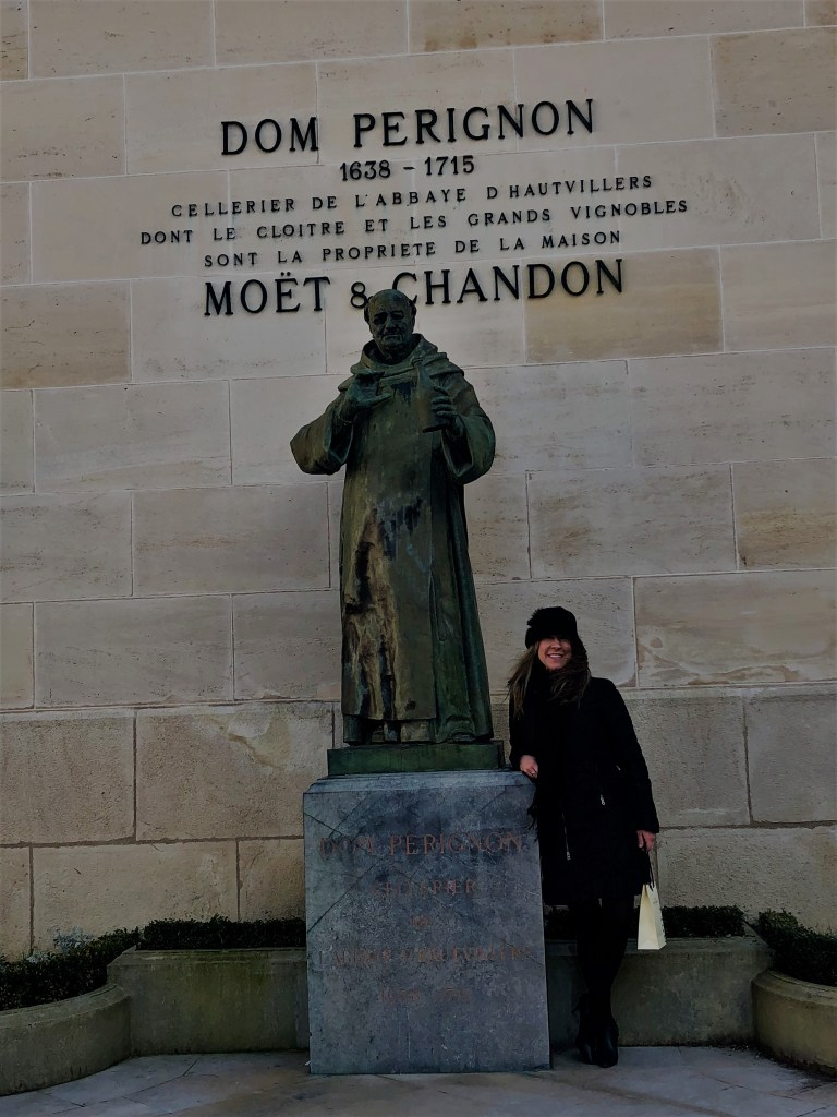 Champagne-Travels Eileen Callahan visits Moet et Chandon Dom Perignon in Epernay France.
