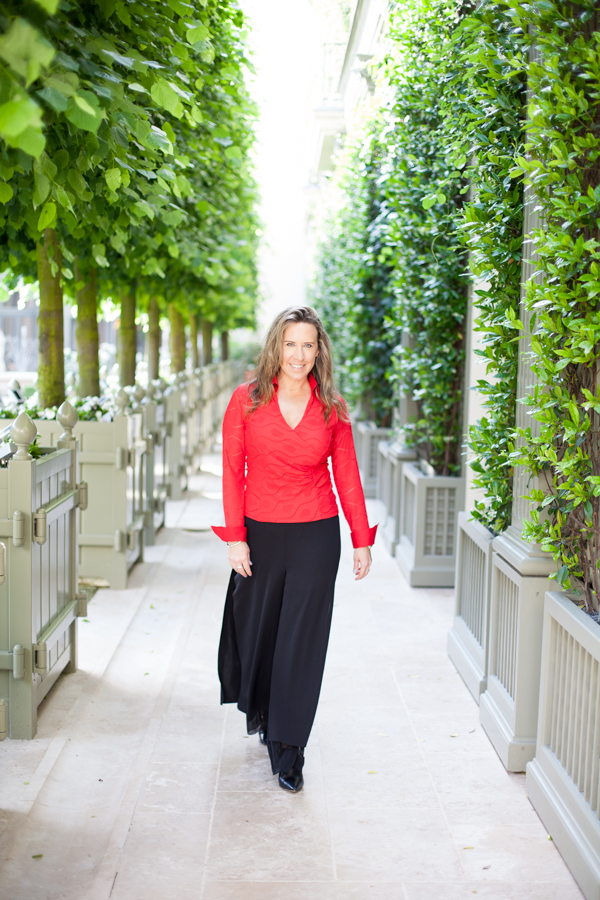 Champagne Travels luxury travel writer Eileen Callahan in Paris France at The Ritz Hotel