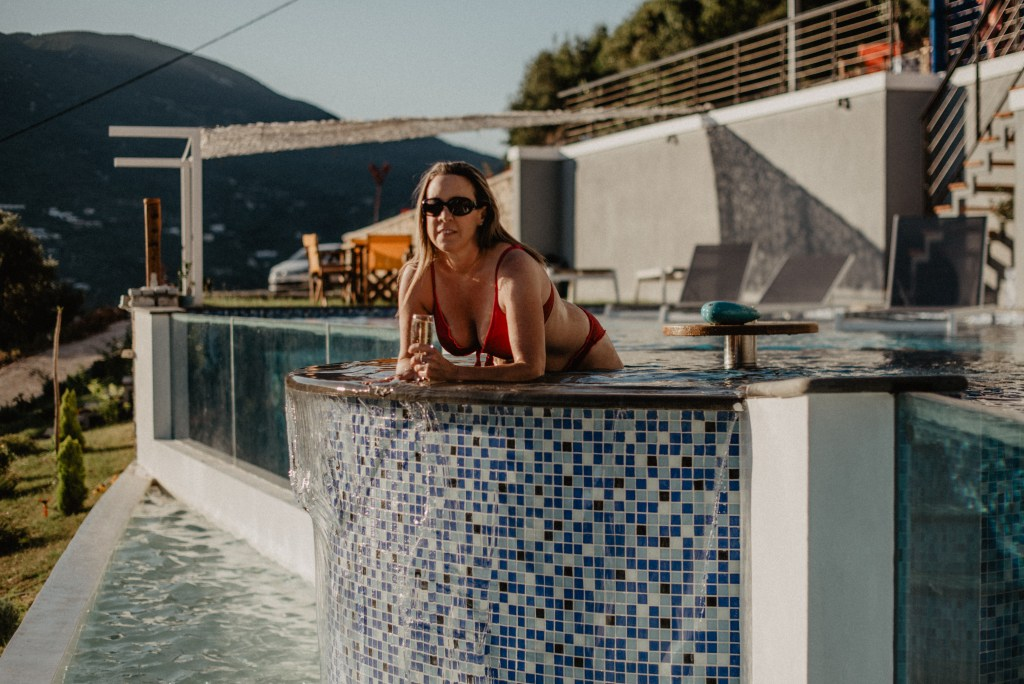 Champagne Travels Eileen Callahan at Sappho Boutique Suites on Lefkada Island, Greece