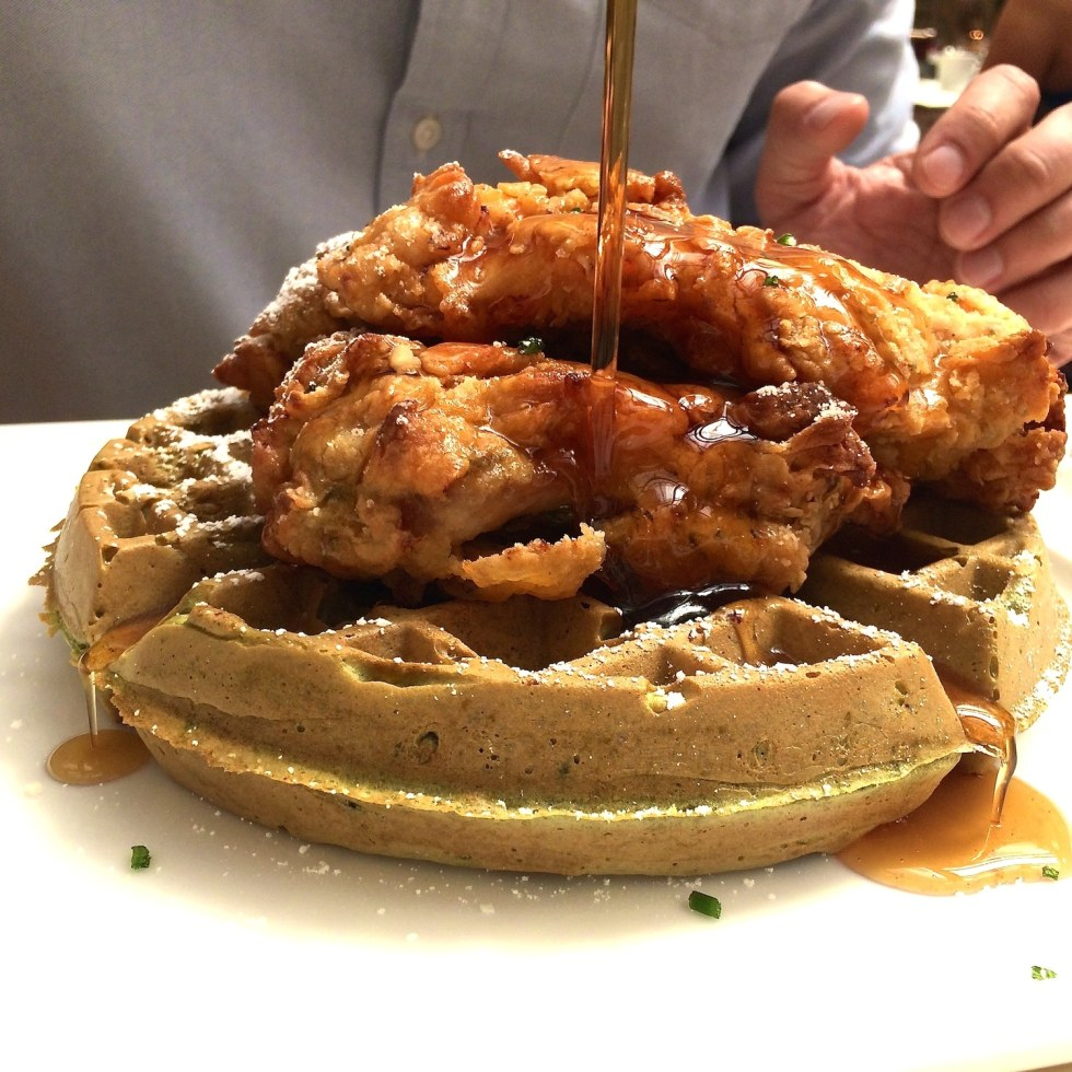 Jasmine Green Tea waffles with Tempura Battered Chicken - Palace Hotel