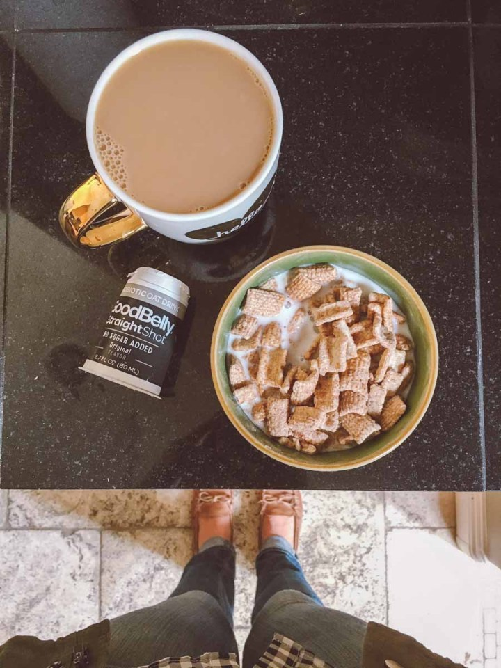 What a dietitian eats in a week - breakfast coffee, cereal in a bowl, probiotic