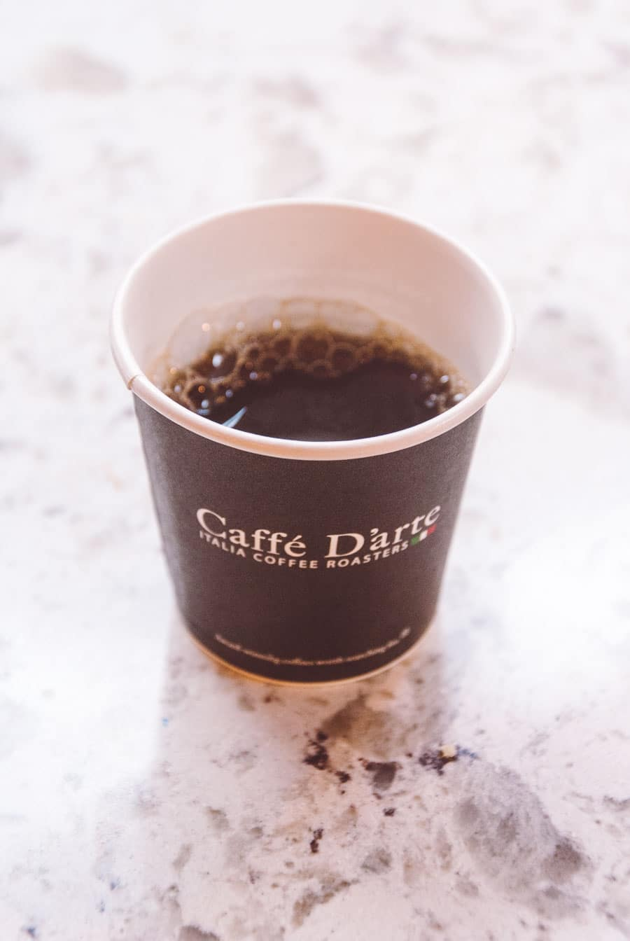Sample sized cup of coffee from Caffe D'arte while on a Seattle coffee tour