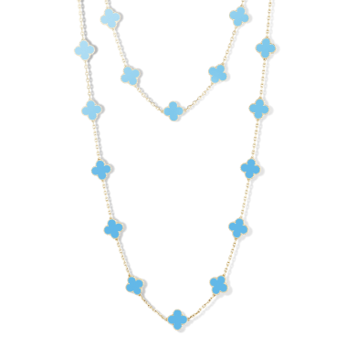 4b560f3034 Vintage Alhambra Long Necklace in white gold and Turquoise