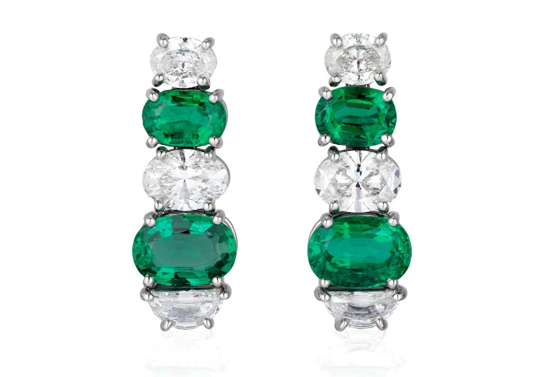 BAYCO - EMERALD & DIAMOND EARRINGS