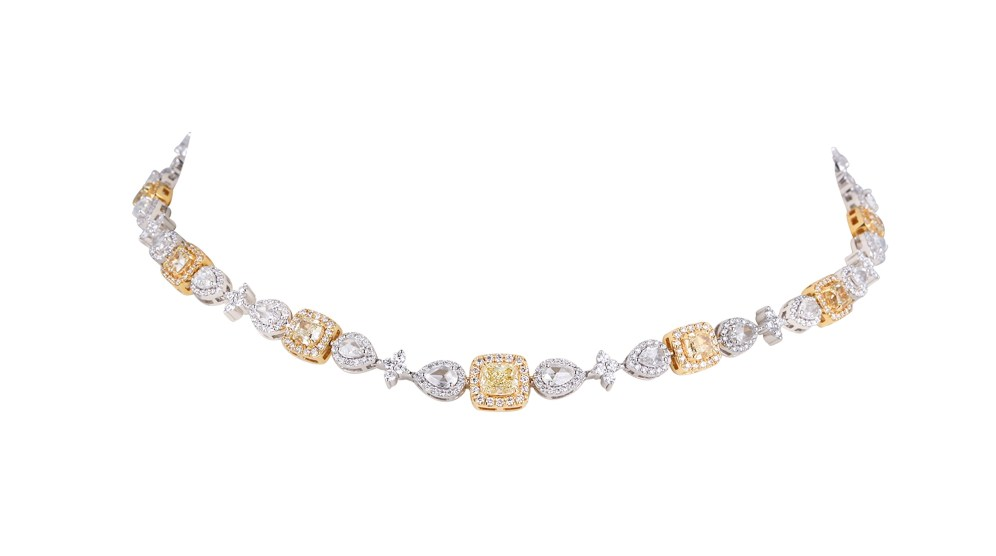 KAMYEN JEWELLERY - YELLOW & WHITE DIAMOND CHOKER (REF: P-F68)