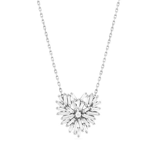 SUZANNE KALAN - 18kt WHITE GOLD FIREWORKS SMALL HEART PENDANT
