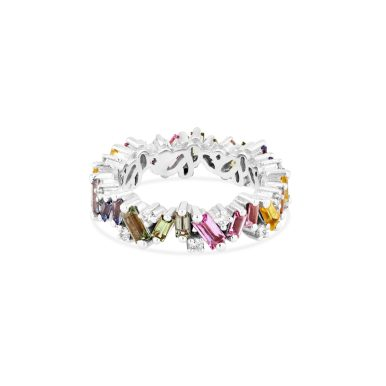 OPTION 3 SUZANNE KALAN - PASTEL FIREWORKS FRENZY ETERNITY BAND 18kt ROSE GOLD, 18kt YELLOW GOLD, 18kt WHITE GOLD