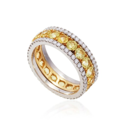BAYCO - YELLOW SAPPHIRE & DIAMOND ETERNITY BAND