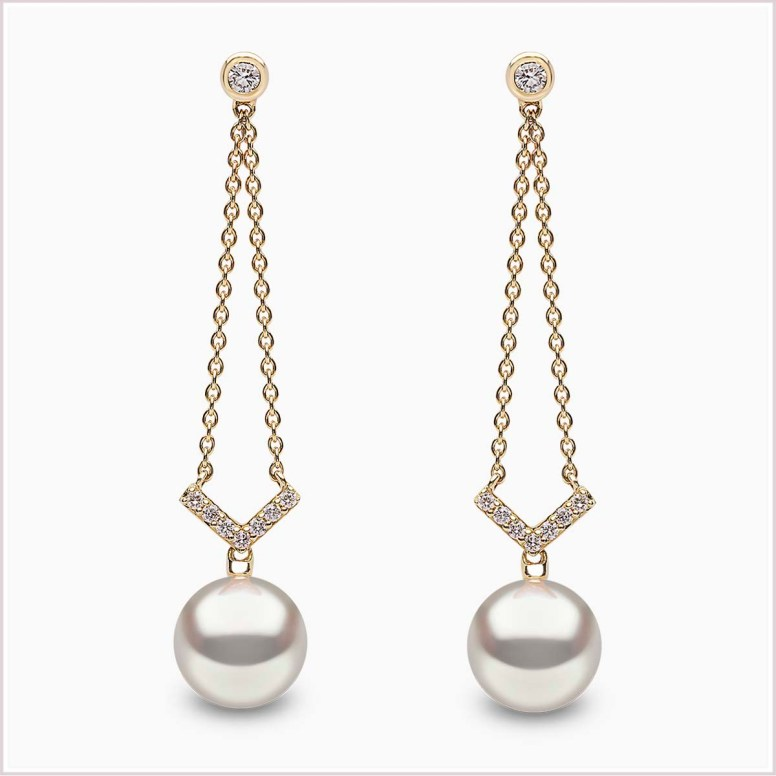 "YOKO LONDON - ""TREND"" FRESHWATER PEARL AND DIAMOND EARRINGS QYE2033-6F"