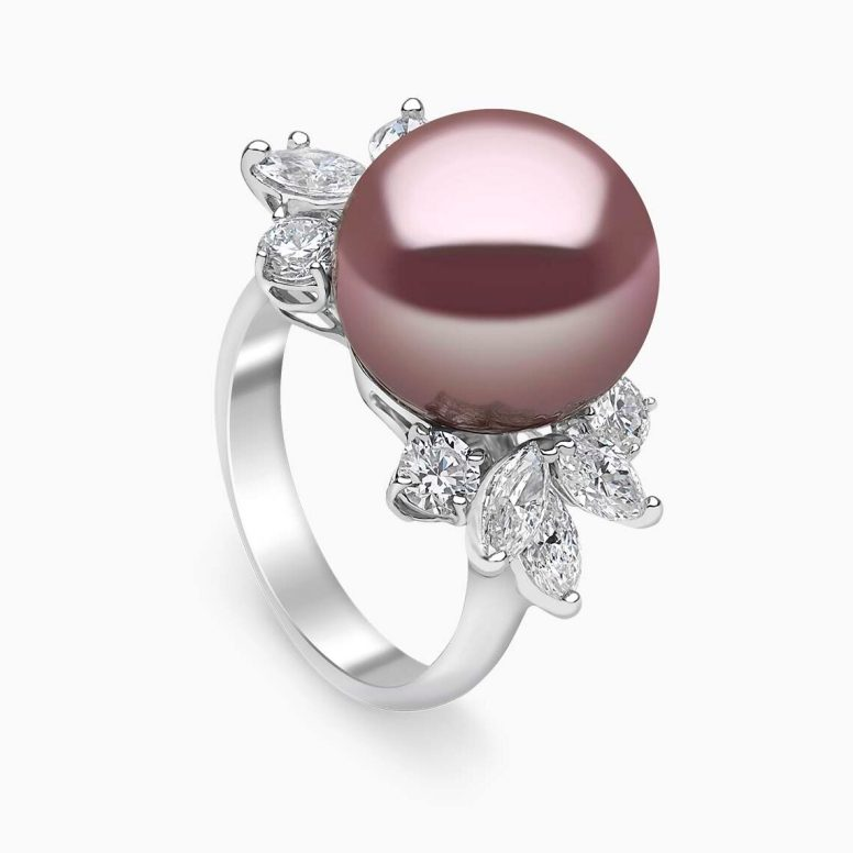 "YOKO - ""RADIANT ORCHID"" FRESHWATER PEARL & DIAMOND RING"