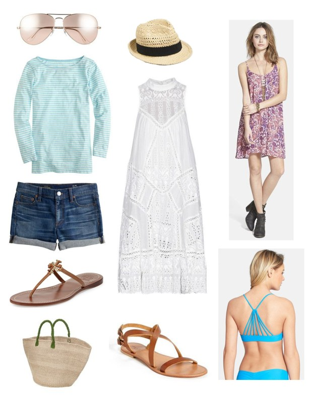 Round up of items to pack for a casual beach vacation