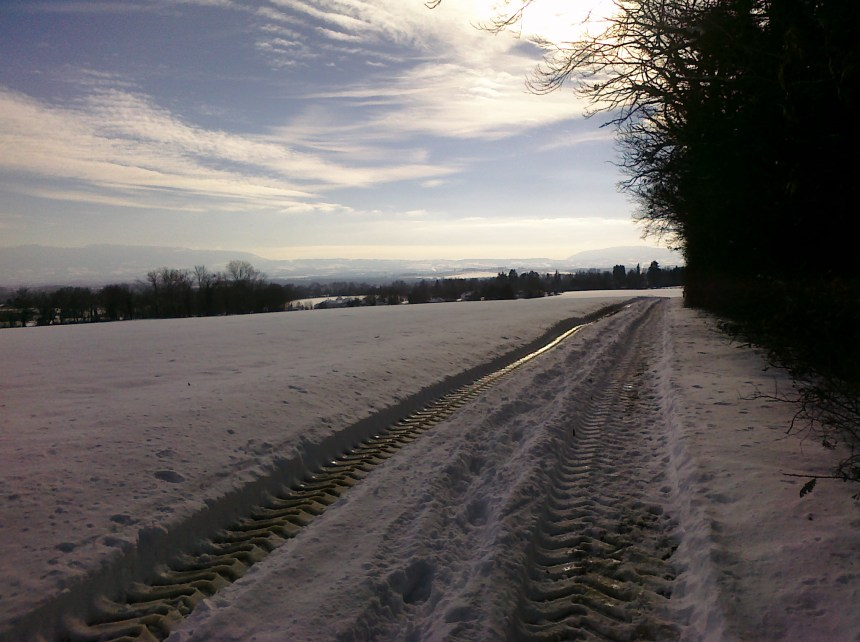 Frozen running track in the Jura Photo: PK Read