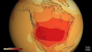 Visualization of summer temperature increase in the US by 2100, assuming a CO2 level of 800 ppm. Source: NASA