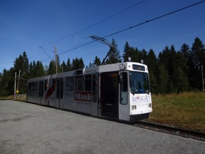 The Trondheim Tram, known as the Gråkallbanen, runs 8.8 km, from St. Olav's Gate to Lian in Bymarka. Photo: PK Read