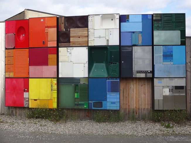 Recycled wall. Trondheim, Norway Photo: PK Read
