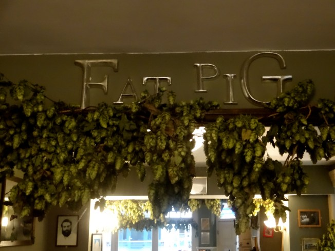 Hop garlands at the Fat Pig Freehouse. The garlands were brought in to celebrate the brewery opening on Sept. 14, but will last several months, growing more golden as they age. Photo: PK Read