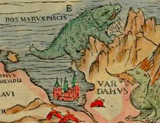 Olaus Magnus' 1539 Carta marina, including a green walrus the size of a mountain. Source: Wikipedia