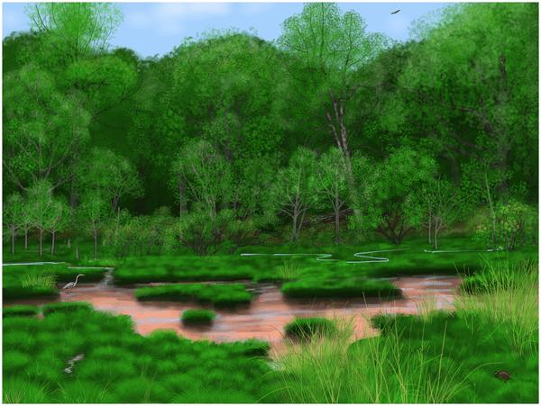 Artist's reconstruction of the pre-settlement landscape as here interpreted using plant macro fossils Credit/Artwork: S. Elliot et al/Rebecca Wilf via PLOS ONE