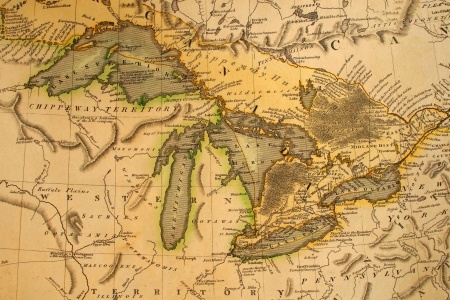 Early French map of Great Lakes region (1795) Via: 123rf